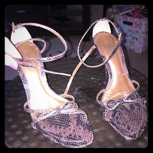 Aldo ankle cross strap jeweled bow stiletto heel